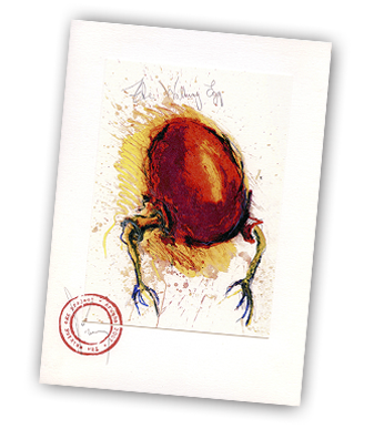 The Walking Egg - Coloured Litho